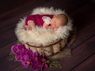 Baby schlafend mit Fell und Blumen vom Babyfotograf in Ingelheim